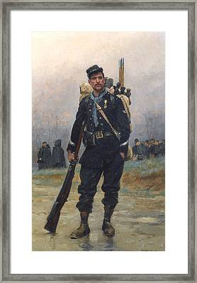 A Soldier With His Equipment Framed Print