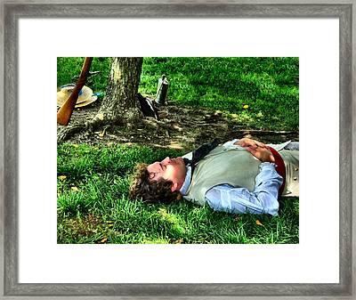 A Soldier's Rest Framed Print by Julie Dant