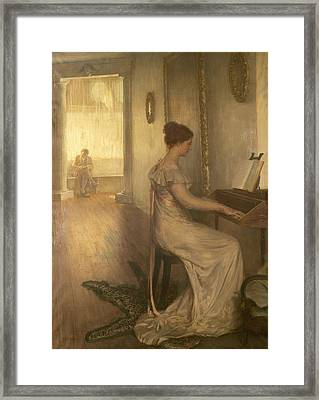 A Sonata Of Beethoven Oil On Canvas Framed Print by Alfred Edward Emslie