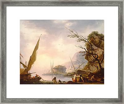 A Southern Coastal Scene, 1753 Oil On Canvas Framed Print