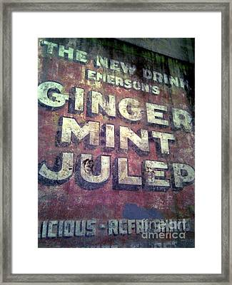 Mint Julep Hand Painted Sign In New Orleans Louisiana Framed Print