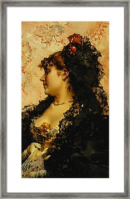 A Spanish Beauty Framed Print by Frederik Hendrik Kaemmerer