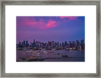A Spectacular New York City Evening Framed Print by Susan Candelario