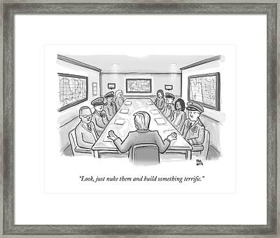 A Spectacularly Coifed Politician Speaks Framed Print by Paul Noth