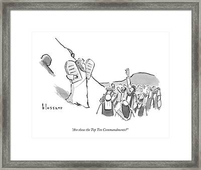 A Spectator Asks Moses Framed Print by John  Klossner