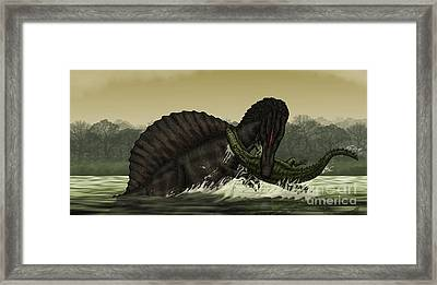 A Spinosaurus Catches A Young Framed Print by Vitor Silva
