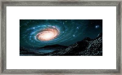 A Spiral Galaxy Seen From A Planet Framed Print