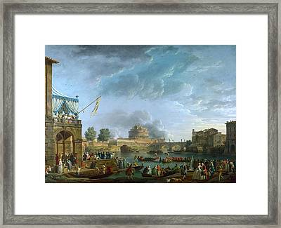 A Sporting Contest On The Tiber At Rome Framed Print by Celestial Images