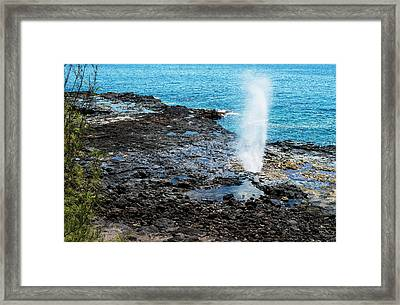 A Spouting Horn Erupts  Poipu, Kauai Framed Print by Robert L. Potts