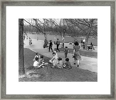 A Spring Day In Central Park Framed Print by Underwood Archives