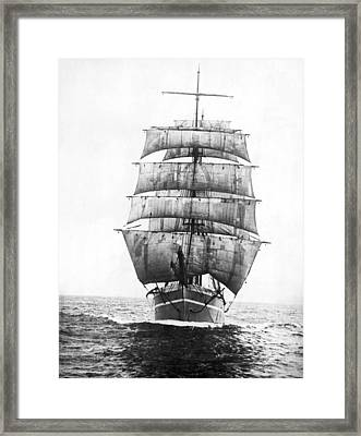 A Square Rigged Sailing Ship Framed Print by Underwood Archives