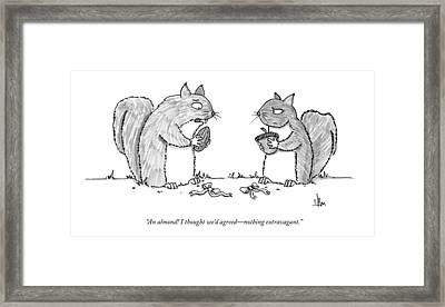 A Squirrel Couple Exchange Gifts Of An Acorn Framed Print