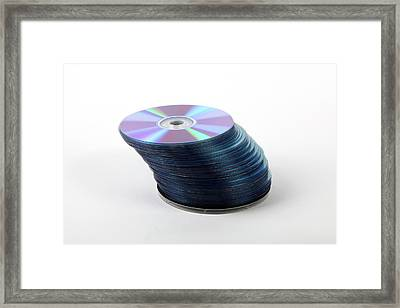A Stack Of Recordable Discs Framed Print by Photostock-israel