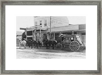 A Stagecoach In Tombstone Framed Print by Underwood Archives
