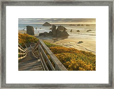 A Stairway Leads To The Beach Framed Print by William Sutton