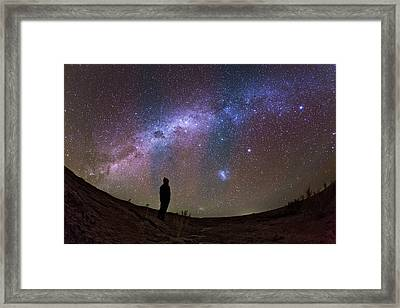 A Stargazer Observing The Milky Way Framed Print by Babak Tafreshi