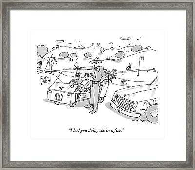 A State Trooper Stops A Golf Cart On A Golf Framed Print by Michael Crawford