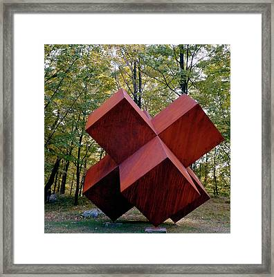 A Steel Sculpture In A Garden Framed Print by William Grigsby