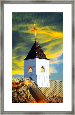 A Steeple Surrounded By The Glory Framed Print by Beverly Guilliams