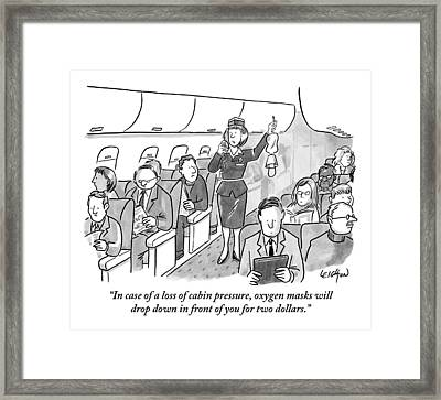 A Stewardess Is Holding Up An Oxygen Mask Framed Print by Robert Leighton