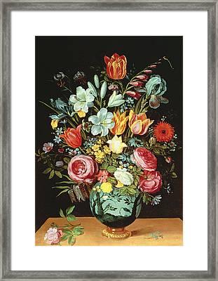 A Still Life Of Flowers In A Porcelain Vase Resting On A Ledge Framed Print by Phillipe de Marlier