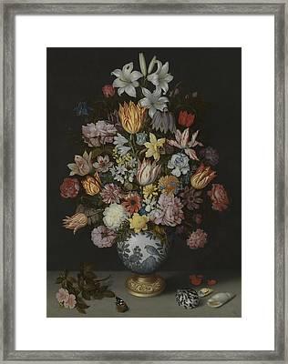 A Still Life Of Flowers In A Wan-li Vase Framed Print