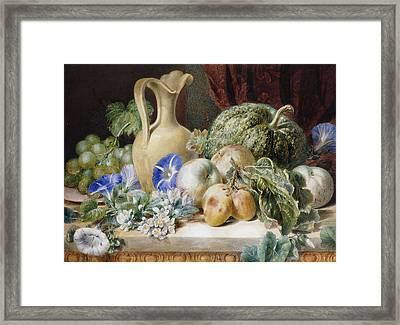 A Still Life With A Jug Apples Plums Grapes And Flowers Framed Print