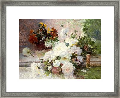 A Still Life With Autumn Flowers Framed Print by Eugene Henri Cauchois