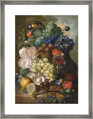 A Still Life With Fruits And Flowers With Oysters Mussels A Glass Of Wine And A Decanter Framed Print