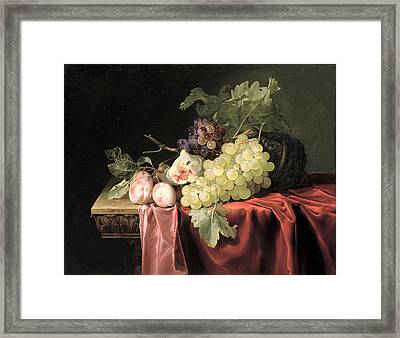 A Still Life With Grapes, Plums, Figs And A Melon On A Partly Draped Stone Ledge, 1653 Oil On Canvas Framed Print by Willem van Aelst