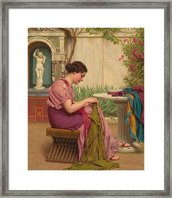 A Stitch Is Free Or A Stitch In Time 1917 Framed Print by John William Godward