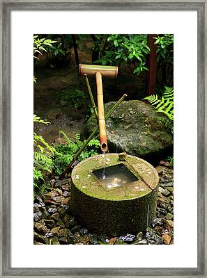 A Stone Water Basin In The Grounds Framed Print by Paul Dymond