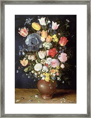A Stoneware Vase Of Flowers, C.1607-8 Framed Print