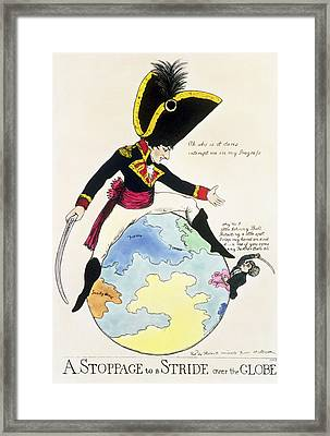 A Stoppage To A Stride Over The Globe, 1803 Litho Framed Print by English School