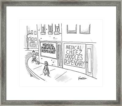A Storefront Medical Marijuana Dispensary Framed Print by Ken Krimstein