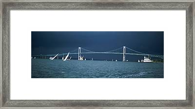 A Storm Approaches Sailboats Racing Framed Print by Panoramic Images
