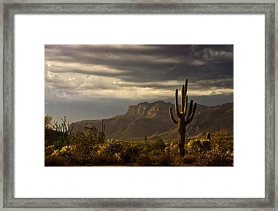 A Stormy Evening In The Superstitions  Framed Print by Saija  Lehtonen