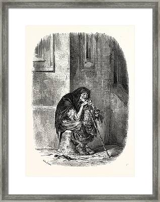 A Strasbourg Beggar Framed Print by French School