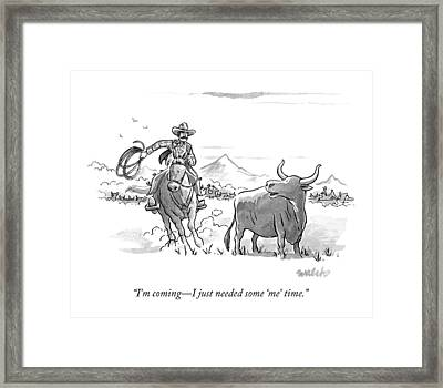 A Stray Cow / Steer Talks To An Approaching Framed Print