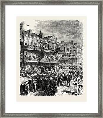 A Street In New Orleans On An Election Day Framed Print by American School