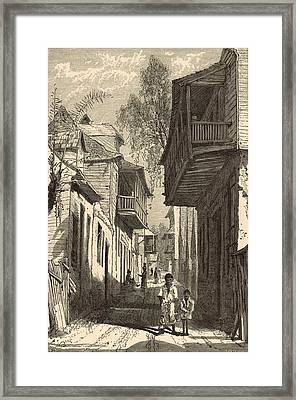 A Street In St. Augustine 1872 Engraving Framed Print by Antique Engravings
