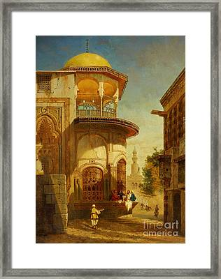 A Street Scene In Old Cairo Near The Ibn Tulun Mosque Framed Print by Adrien Dauzats