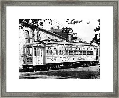 A Streetcar Named Safety First Framed Print by Underwood Archives