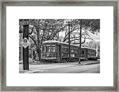 A Streetcar Named St. Charles Oil Bw Framed Print by Steve Harrington