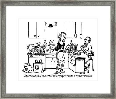 A Stressed-out Looking Woman Wearing An Apron Framed Print