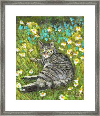 Framed Print featuring the painting A Striped Cat On Floral Carpet by Jingfen Hwu