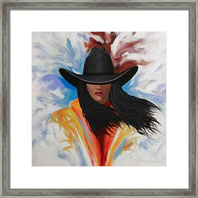 A Stroke Of Cowgirl Framed Print