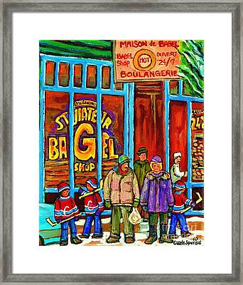 A Stroll After The Hockey Game St Viateur Bagel Montreal Winter Street Carole Spandau Framed Print
