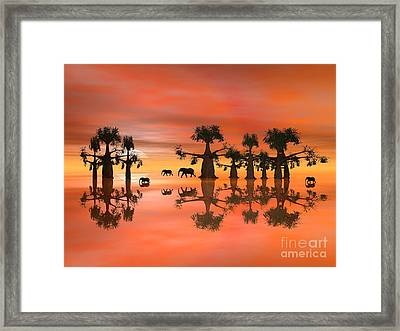 Framed Print featuring the digital art A Stroll By Moonlight IIi by Jacqueline Lloyd