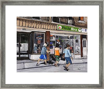 A Stroll Down Wellington Street In Verdun Framed Print by Reb Frost